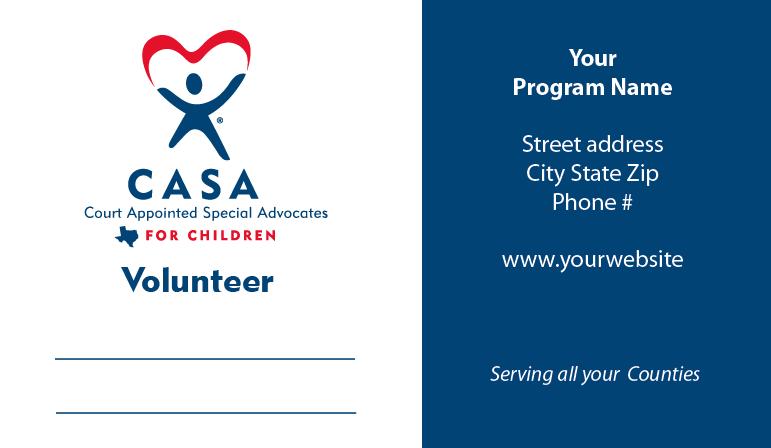 Volunteer Business Cards Texas Casa Essentials
